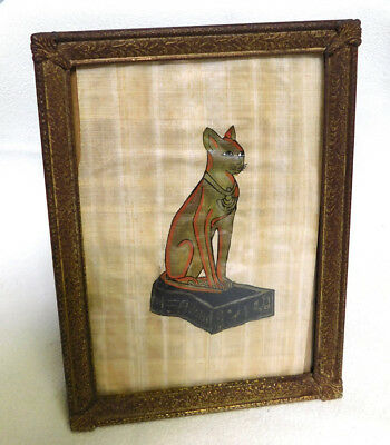 AWESOME Vintage  Framed EGYPTIAN CAT Painted on Fabric