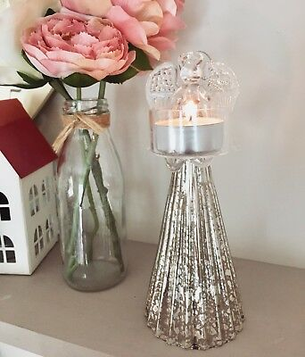Glass Angel Christmas Tea Light Candle Holder Silver Decorations