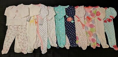 10 Lot Baby Girl's 6-9 Months & 9 Months Clothes Pajamas Sleepers