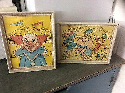 Vintage Bozo The Clown And Prince Dinky The Elephant Pictures Framed In Wood