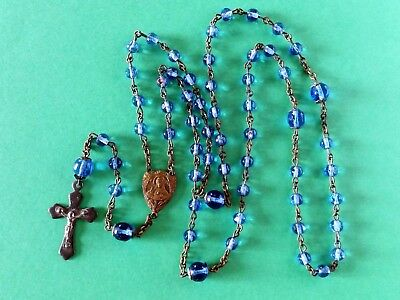 Antique Vintage Rosary w/ SAPPHIRE BLUE Glass Beads Sacred Heart of Jesus Medal