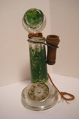 Vtg Green Painted Glass Candlestick Telephone Candy Container