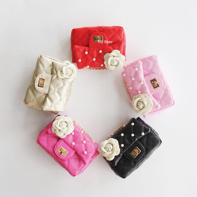 Baby Girls Camellia beads Toddler Purse Kids Chain Shoulder Bag Birthday Gifts