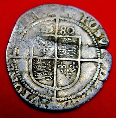 1580 Elizabeth 1St Silver Sixpence Rose Beside Bust Mm Latin Cross.tudor Period