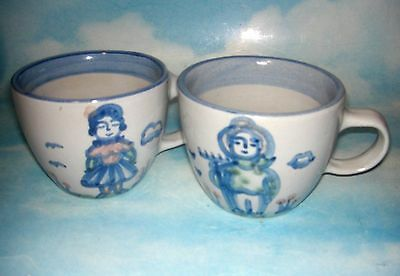 MA Hadley FARMER cup & WIFE cup (2 cups) LOUISVILLE handpainted pottery