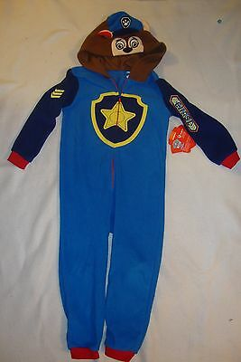 "Paw Patrol  Chase   ""oh So Soft"" Fleece 1 Piece Hooded  Pajamas  Nwts  So Cute!"