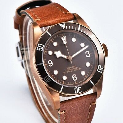 Corgeut 41mm Brass PVD Case Sterile Coffee Dial Sapphire Glass Automatic Watches