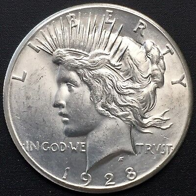 1928 - P Peace Silver Dollar Rare Ms Details Key Date White Coin - Nice Luster