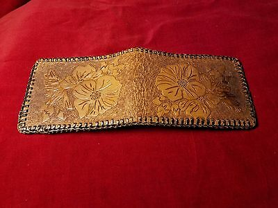Vintage Hand Tooled Leather Flower Design Small Brown Bifold Wallet