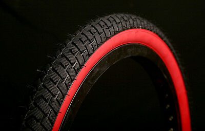 2 of COLOURED STREET BMX TYRES TIRES BLACK REDWALL 20 X 2.125 LS214