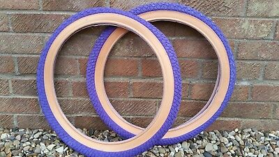 2 of COLOURED STREET BMX TYRES TIRES PURPLE GUMWALL 20 X 2.125 LS214