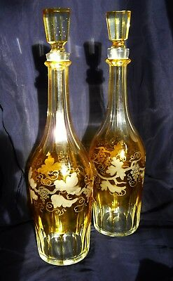 Antique pair Bohemian glass decanters. Yellow/amber glass- 19th century- Lovely