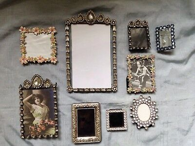 Old Collection Of Oval/metal/silver/diamonte Vintage Photo Frames Picture
