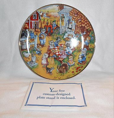 "New Franklin Mint By Bill Bell ""A PURRFECT FEAST"" Cat Thanksgiving Plate W/Stand"