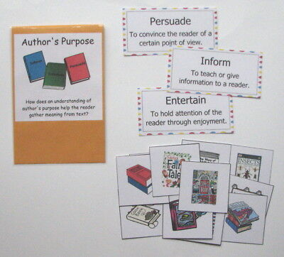 Teacher Made Literacy Center Resource Game Comprehension Author's Purpose