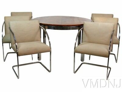 VMD 1395 Milo Baughman Burl Walnut & Chrome Dining Set- 7 Pieces