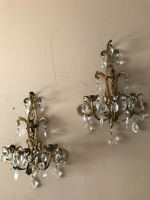 "Vintage Antique Italian Gold Gilt Pair Wall Sconces 16"" X 13"" W"