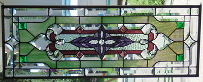Stained Glass Transom window hanging 34 3/4 X 12 3/4