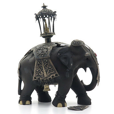 Antique 925 Sterling Silver & Wood Handmade Tribal Indian Elephant Miniature