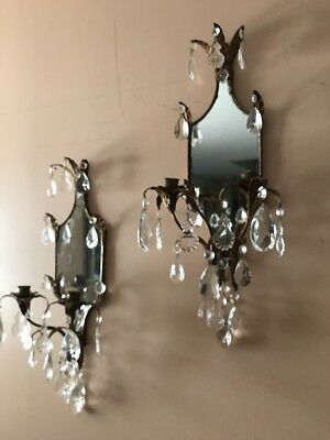 ANTIQUE ITALIAN GOLD TOLE FRENCH MIRRORS CRYSTALS CHANDELIER SCONCE WALL LAMPs 2