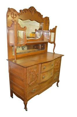 18213 *REDUCED PRICE* Oak Carved Sideboard Buffet