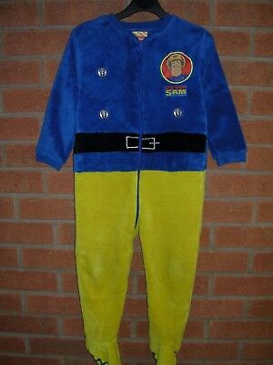 FIREMAN SAM Boys All-in-One Sleepsuit Fleece Pyjamas Age 4-5 110cm