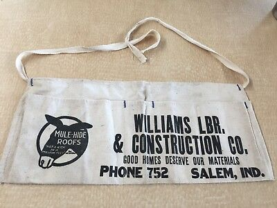 Vintage Wliiams Lumber Mule-Hide Roofs - Salem, Indiana Advertising Nail Apron
