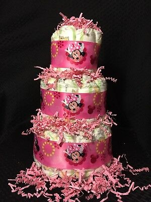 Baby Girl Diaper Cake Minnie Mouse  Pink Shower Gift 3 Tier Centerpiece