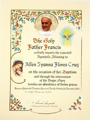 Mod 9 Official Personalized Pope Blessing Certificate From Vatican W/ Papal Seal
