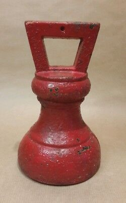 Large Antique Bell Weight 7LB Red Vintage Painted Finish Wrought Iron Industrial