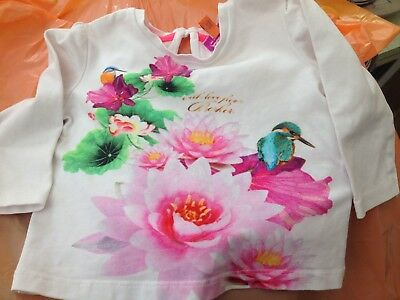Ted Baker Long Sleeve T.shirt Top Kingfishers Girls 3-6mths