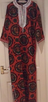 NEW West African 100% Cotton Kaftan Multi Maxi. S