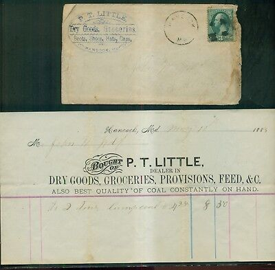 1883 Hancock,MD - P.T. Little Dry Goods, Groceries Advertising Cover & Invoice