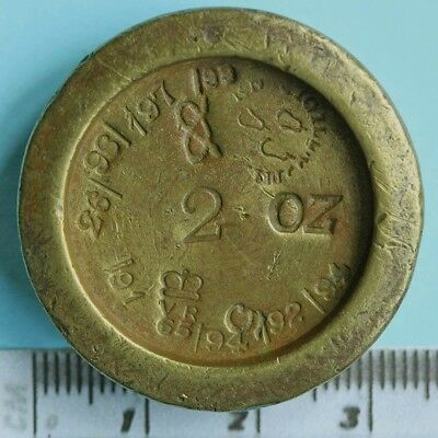 Victorian 2 oz brass weight, Worcestershire and Staffordshire