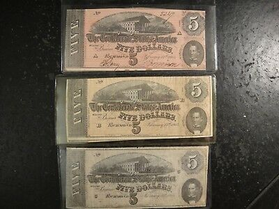 Trio (3) 1864 (A,B,&C) Confederate States of America $5 Notes. G-VG, Fine, & VF.