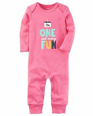 NEW Girls Carters Birthday First 1st Birthday One and Fun Jumpsuit 12 18 Months