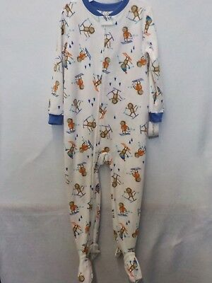 b496b0c19 BOYS 2T CARTER S White Monkeys Ski Footed Fleece Sleeper Pajamas Nwt ...
