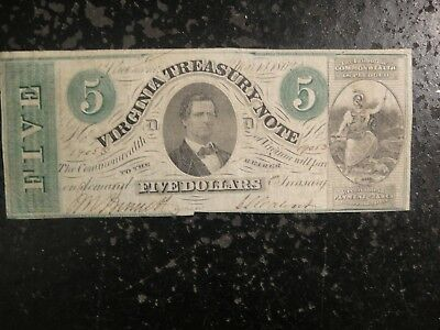 1862 CSA $5 Virginia Treasury Note. Fine.