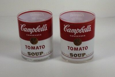 Vintage Any Warhol Campbell's Tomato Soup Collector Double Old Fashion Glasses