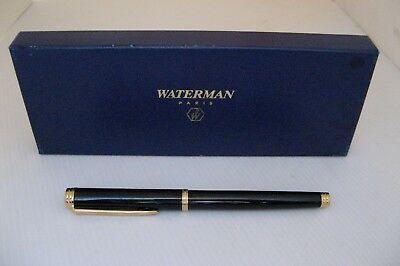 2217* stylo plume waterman man noir laqué plume or 18ct