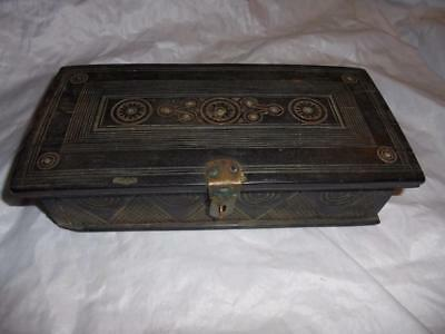 Antique African Lamu Ebony Arabic Small Carved Jewel Chest With Inscription