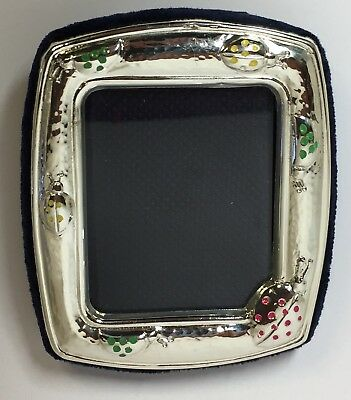 Solid Silver Child's Photo Frame Enamel Ladybirds Detail 925