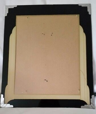 Vintage Art Deco Black and Cream Reverse Painted Glass Picture Frame