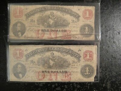 Pair (2) 1862 A&B CSA $1 Virginia Treasury Notes. Very Good to Fine Details.