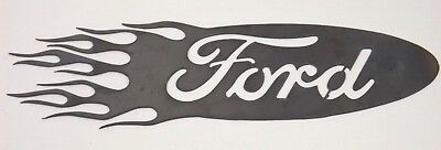 Ford Logo with Flames Metal Cut-Out Man Cave / Garage Wall Art