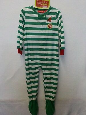 Boys 24 Months Macy's Green Striped Elf Christmas Footed Sleeper Pajamas #3802