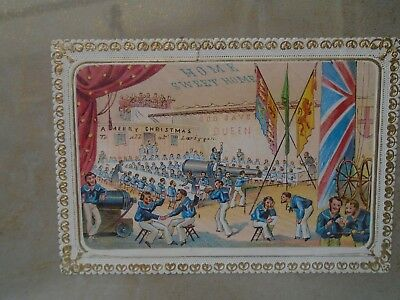 framed antique 19th century greetings card   interesting military celebration