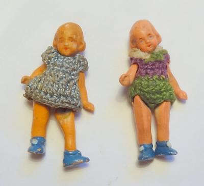 Vintage Miniature Dolls House Dolls Bisque X 2