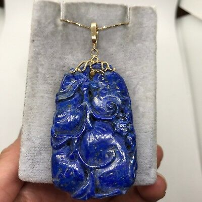 Antique Chinese carved lapis lazuli peach bird flower 14k gold pendant enhancer