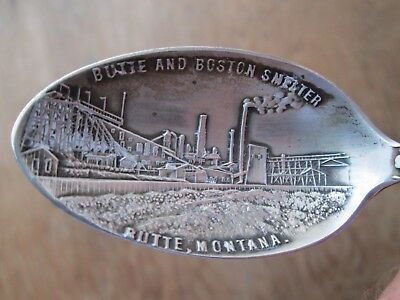 Antique - STERLING  Spoon  MONTANA w/ BUTTE & BOSTON SMELTER Bowl - BUTTE MONT